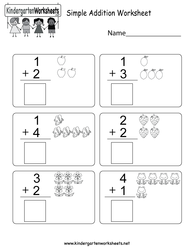 Simple Addition Worksheet Free Kindergarten Math Worksheet