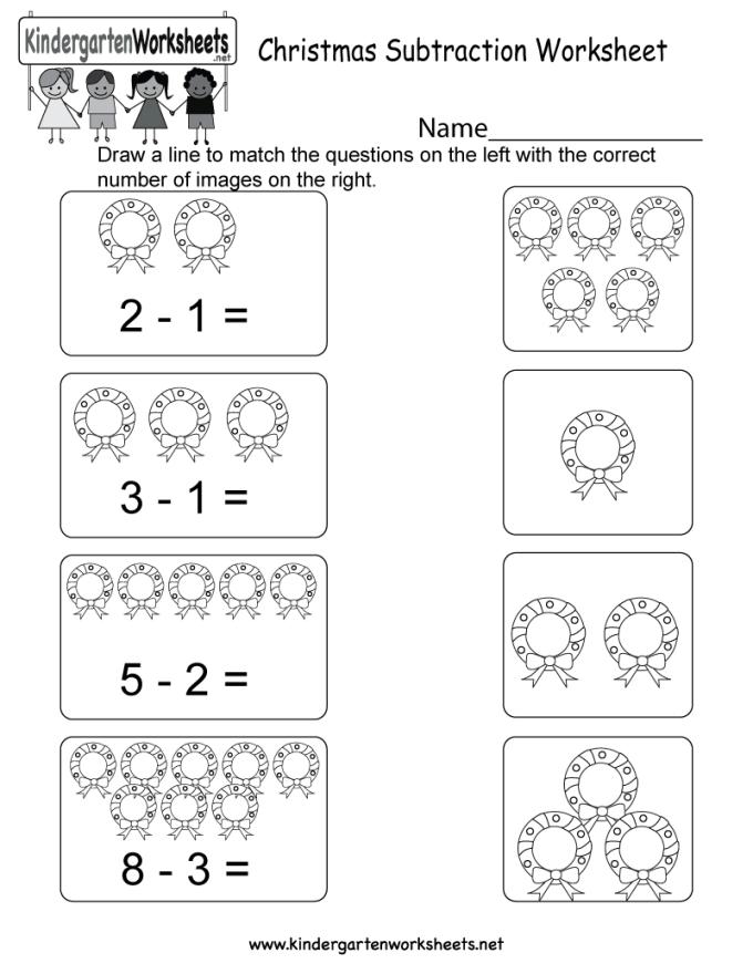 Christmas Subtraction Worksheets For Kindergarten Christmaswalls