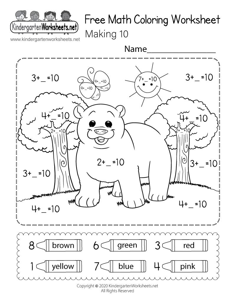 Free Printable Math Coloring Worksheet - Making 10   free coloring worksheets for kindergarten