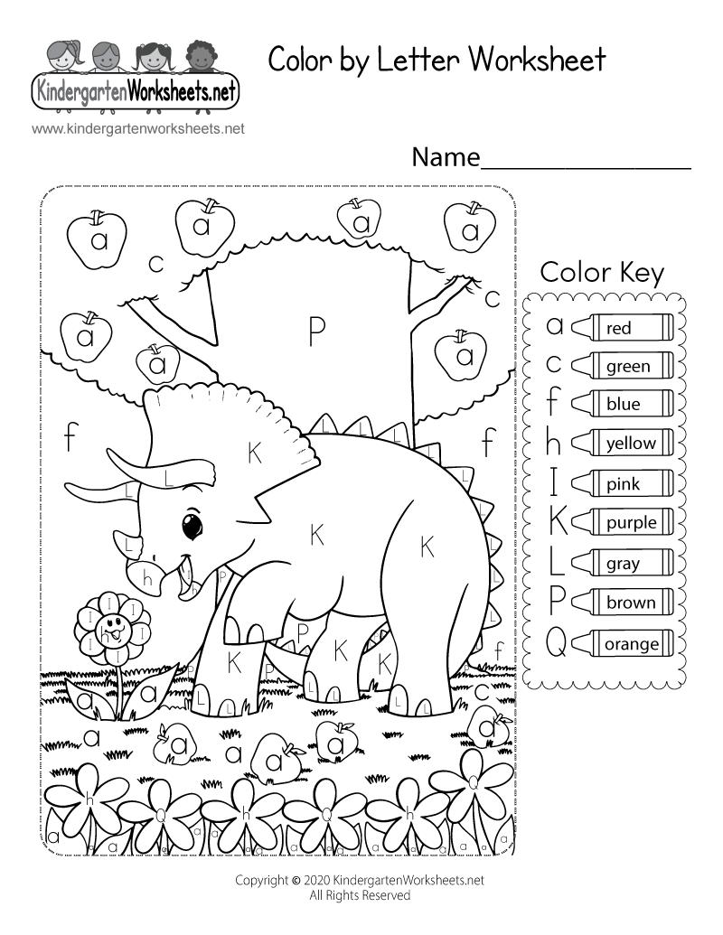 Free Printable Color by Letter Worksheet | free coloring worksheets for kindergarten