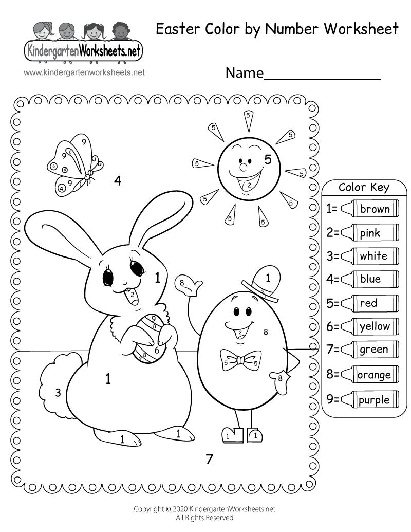 Easter Color by Number Worksheet for Kindergarten   free printable easter coloring pages for kindergarten