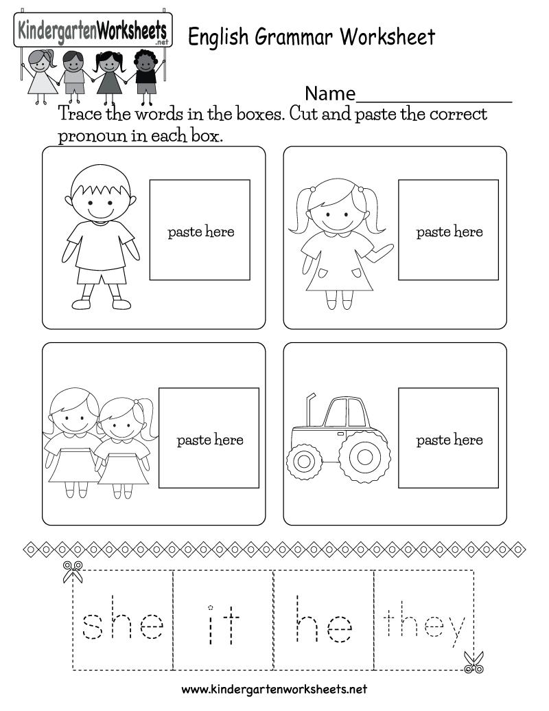 English Grammar Worksheet Free Kindergarten English