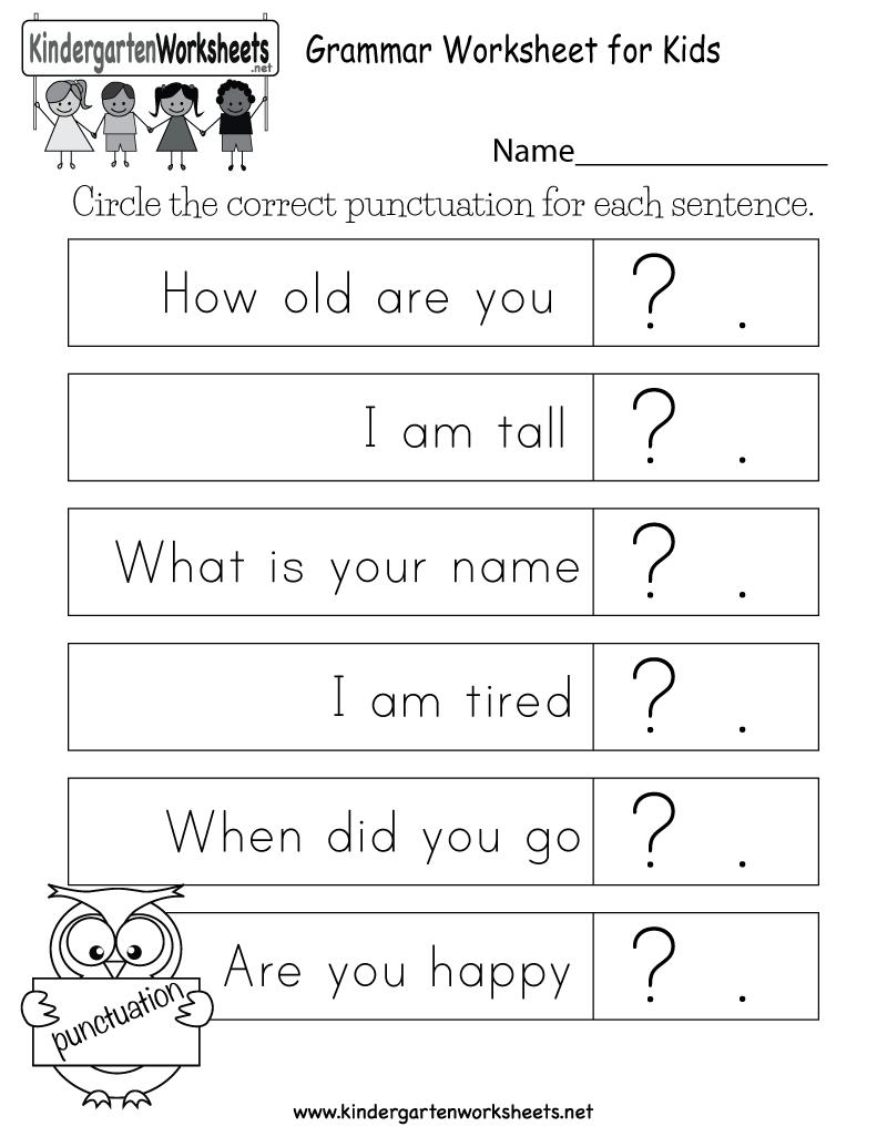 Grammar Worksheet For Kids Free Kindergarten English Worksheet