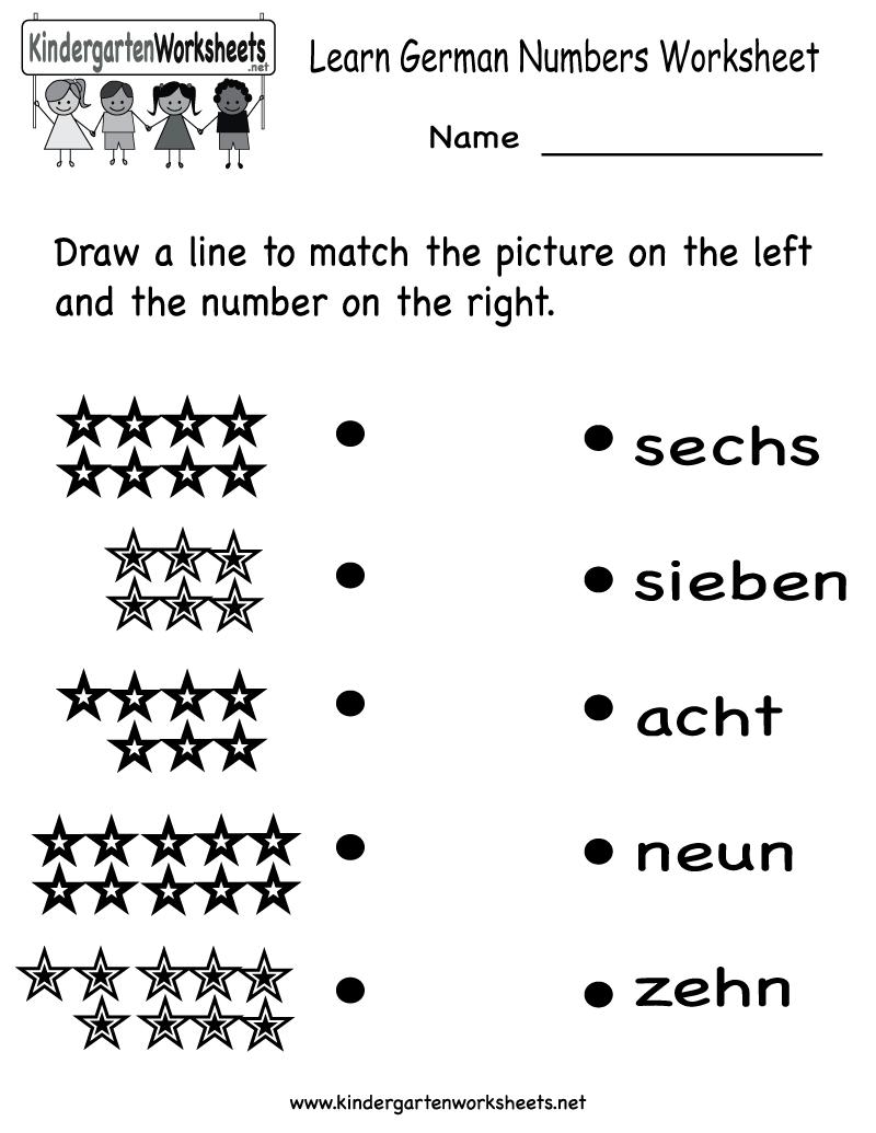 Free Printable Learn German Numbers Worksheet For Kindergarten
