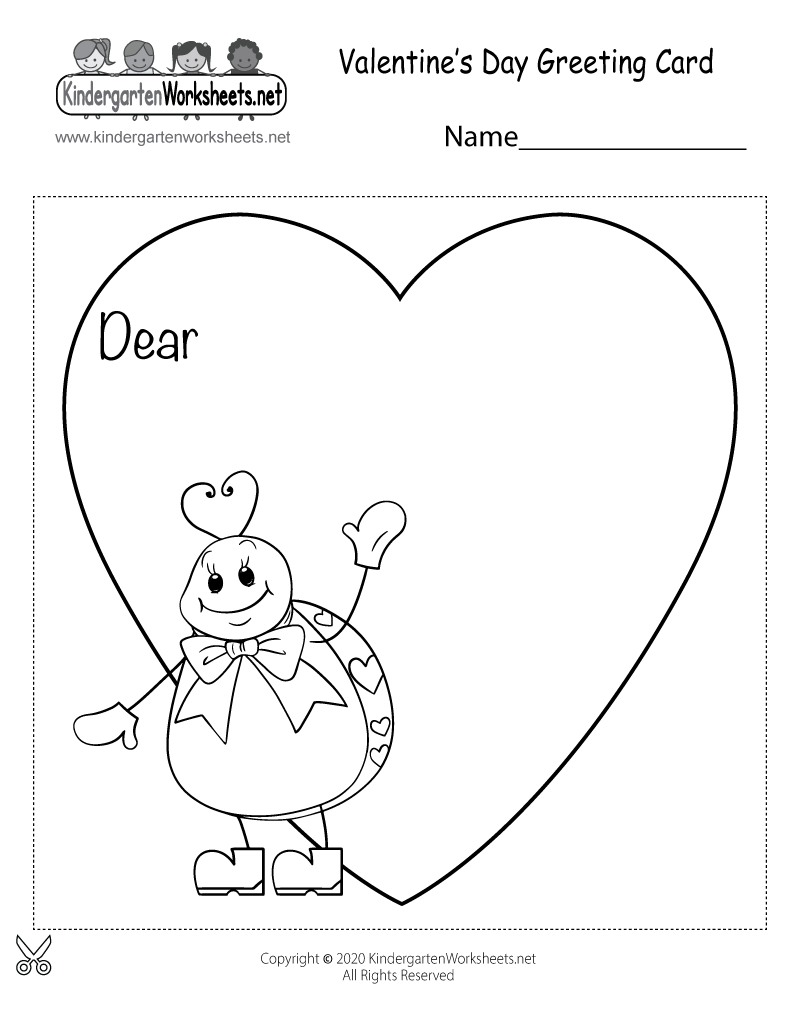 Free Printable Valentines Day Greeting Card For Kindergarten