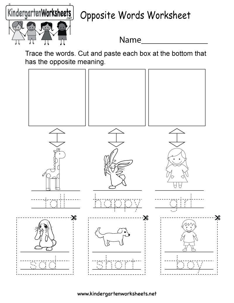 Opposite Words Worksheets For Kids Free Printable