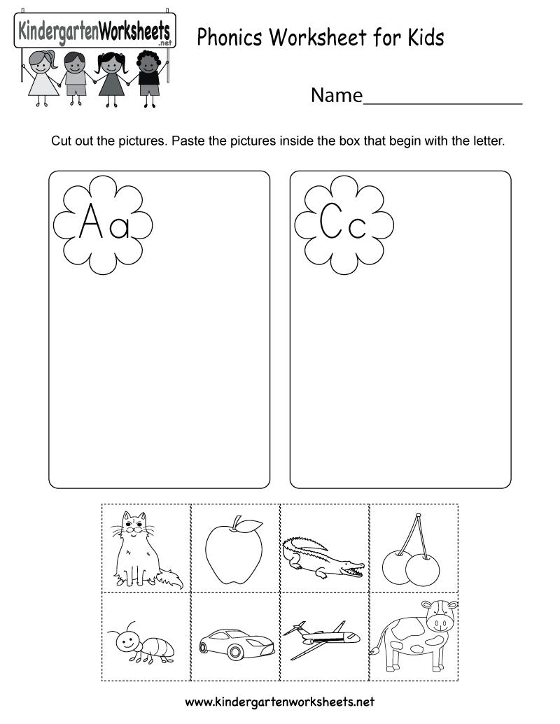 Phonics Worksheet For Kids Free Kindergarten English
