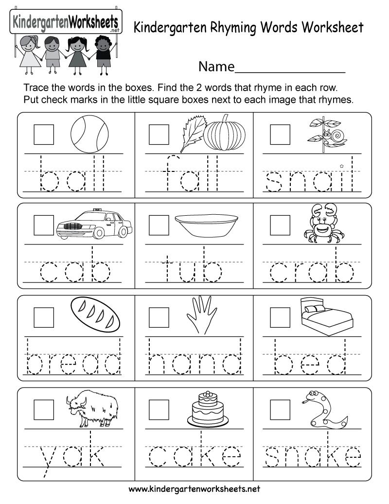 Kindergarten Rhyming Words Worksheet Free Kindergarten