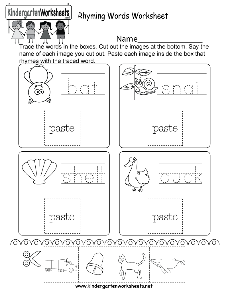 Rhyming Words Worksheet Free Kindergarten English