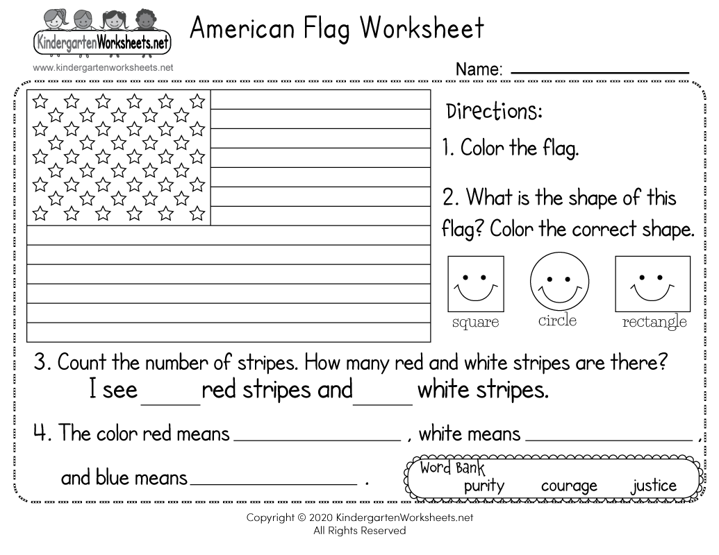 Free Printable American Flag Worksheet For Kindergarten