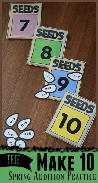 FREE Seeds Make 10 Activity - free printable, hands on, educational spring addition practice for preschool, kindergarten and first grade kids. Perfect for summer learning activities and math centers #kindergarten #kindergartenmath  #addition