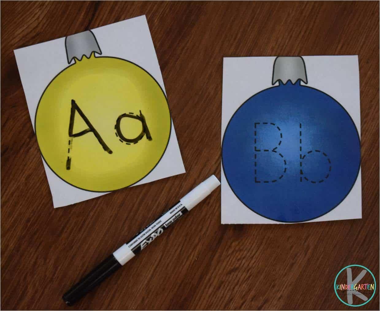 Free Alphabet Ornaments Trace Amp Erase Kindergarten