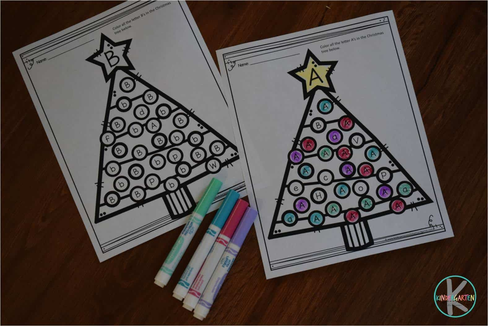 Christmas Tree Letter Find Worksheets Kindergarten