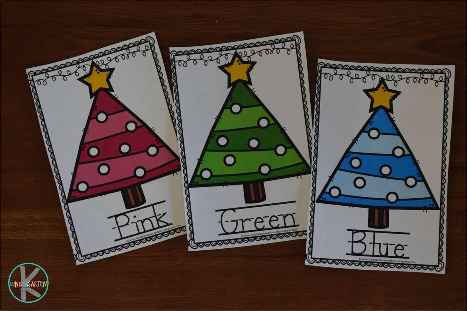 Free Christmas Tree Colors Activity Kindergarten