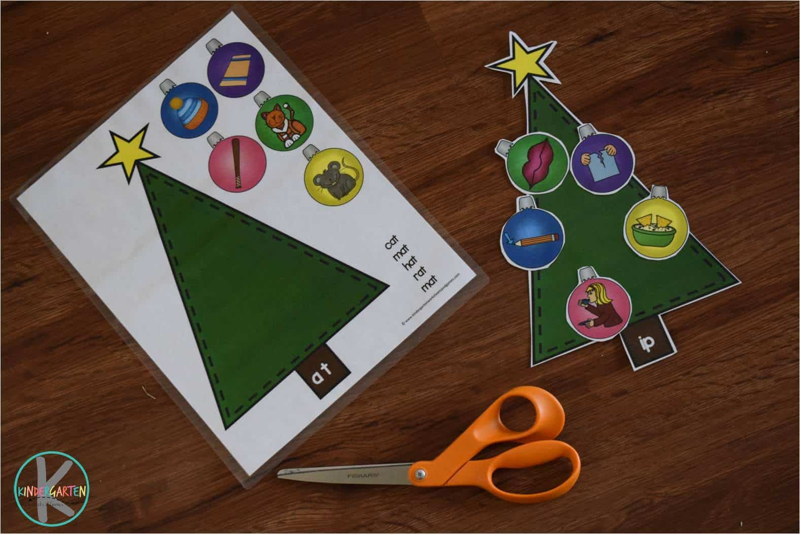 Word Family Christmas Trees Kindergarten Worksheets And
