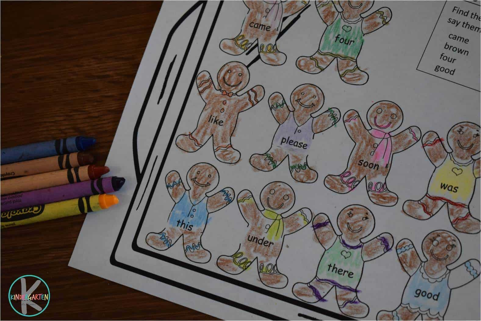 Gingerbread Sight Word Coloring Sheets Kindergarten