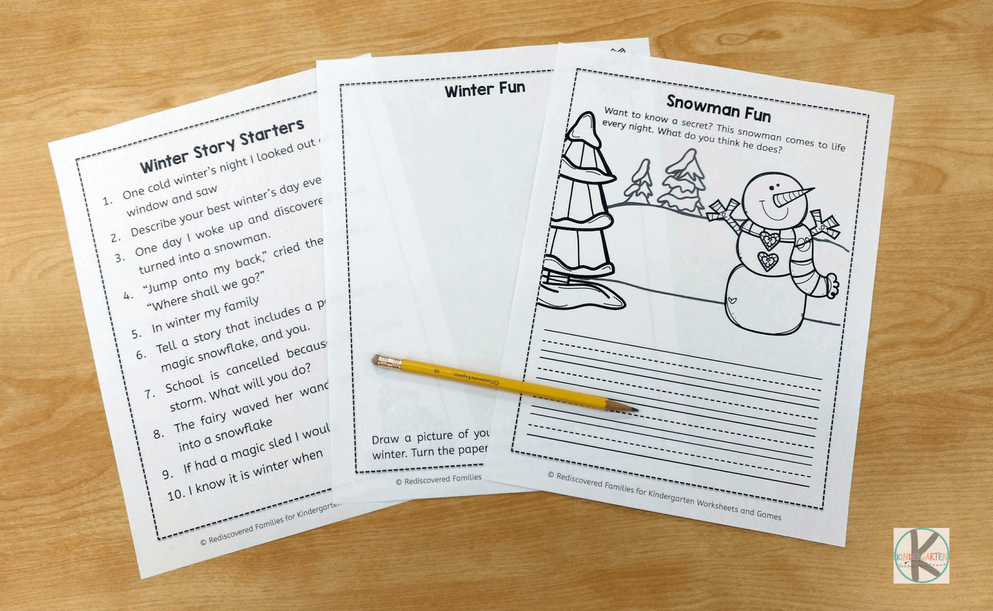 Free Winter Writing Prompts Kindergarten Worksheets And