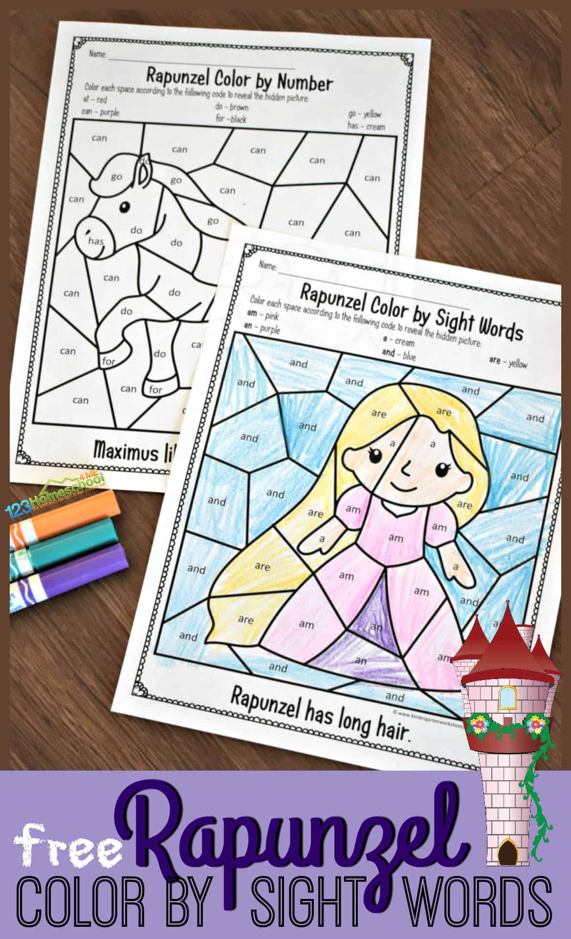 Free Rapunzel Sight Words Coloring Kindergarten