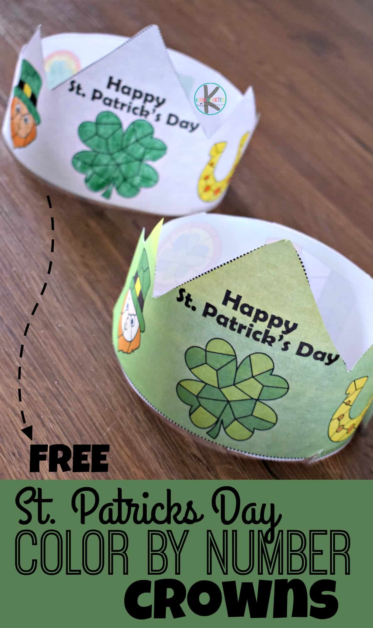 Free St Patricks Day Color By Number Crowns