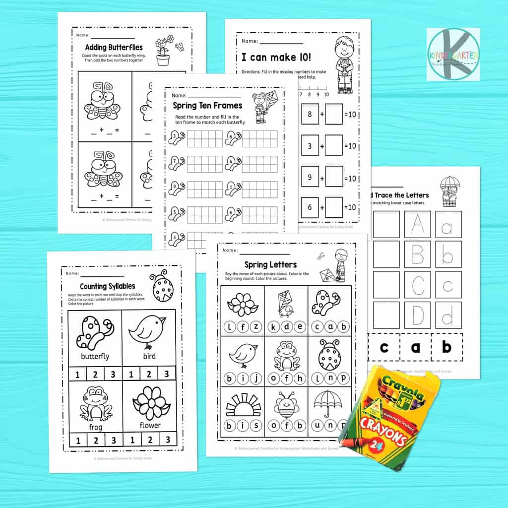 Free Kindergarten Spring Worksheets