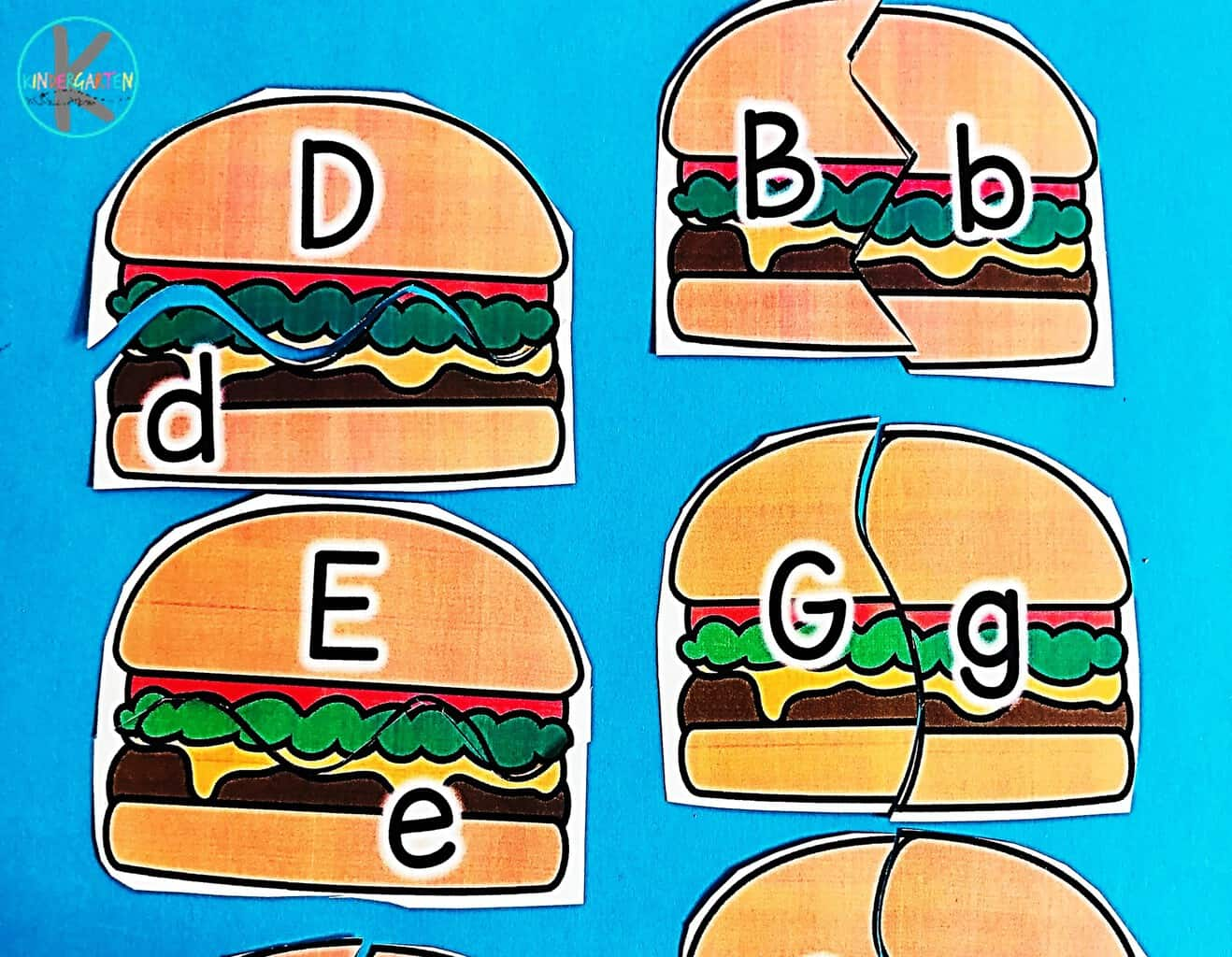 Free Hamburger Alphabet Puzzle Kindergarten Worksheets
