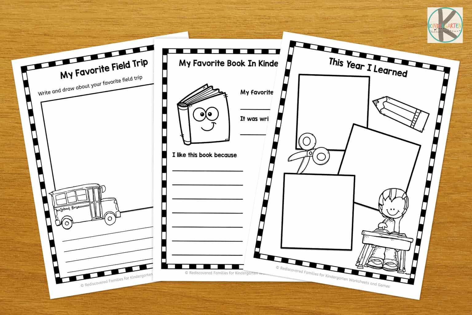 Free Kindergarten Memory Book Kindergarten Worksheets