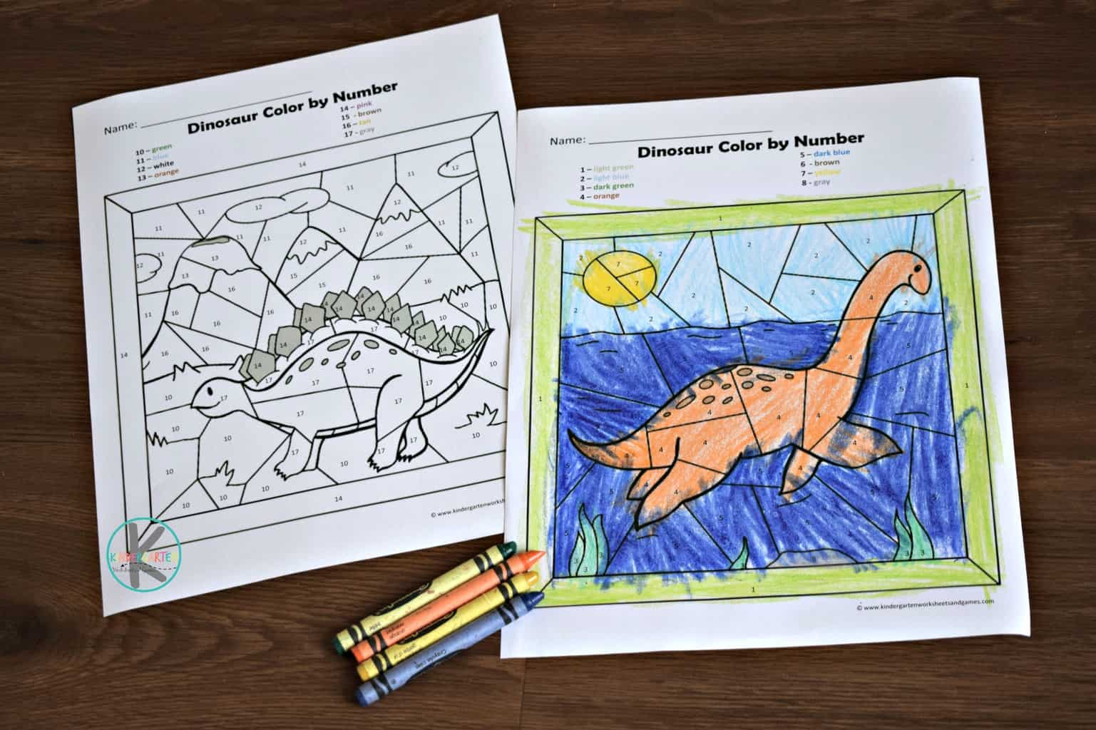 Free Dinosaur Color By Number