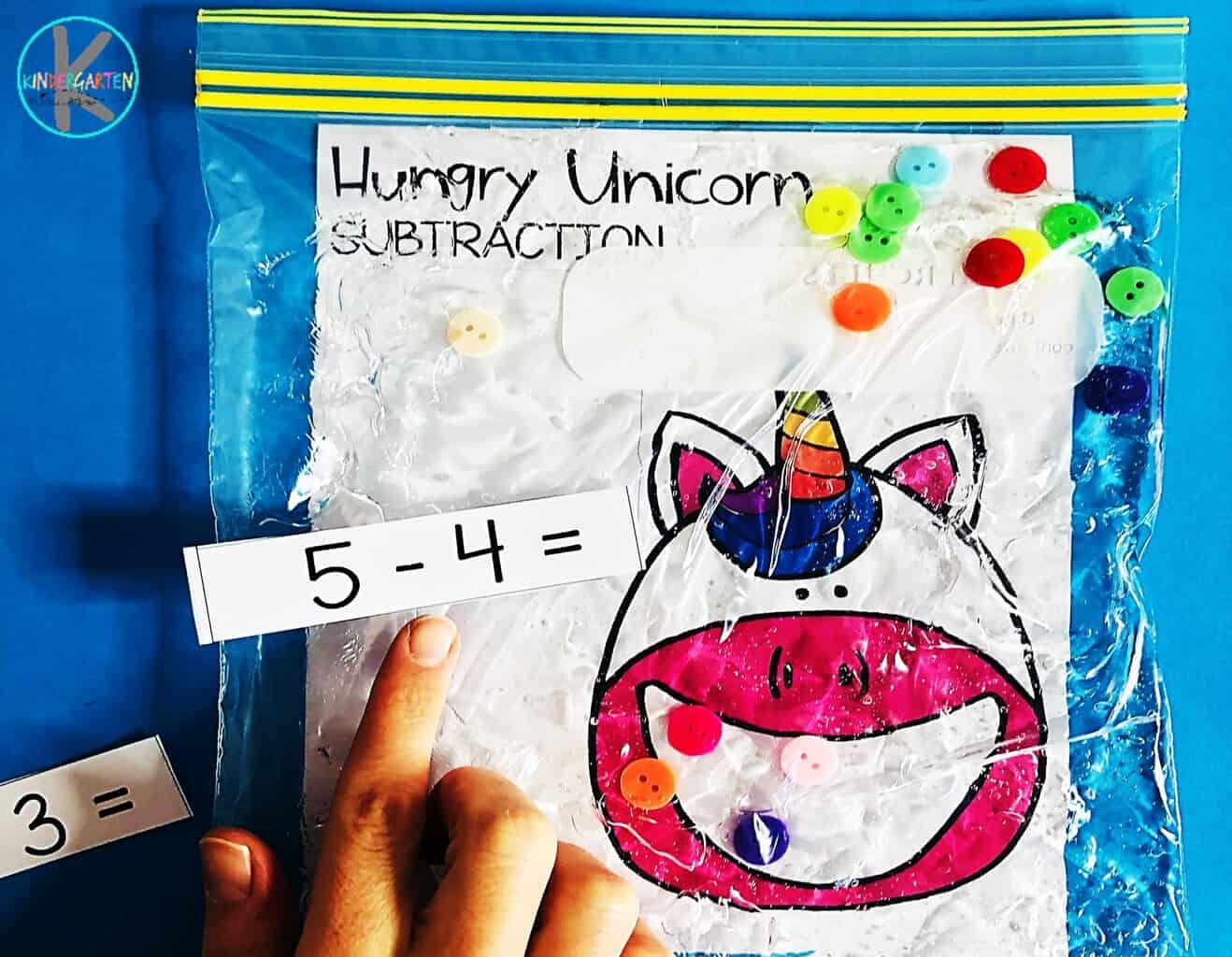 Hungry Unicorn Math Subtraction Sensory Bag