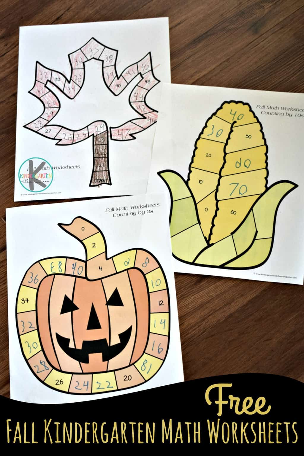 Free Skip Counting Fall Math Worksheets