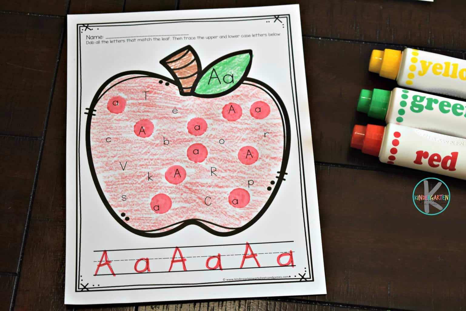 Apple Alphabet Letter Tracing Worksheets Kindergarten