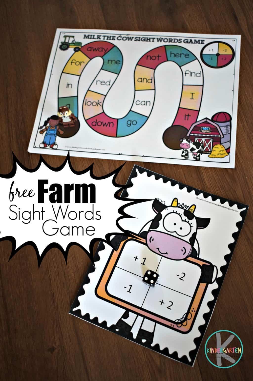 Farm Kindergarten Sight Words Games Kindergarten