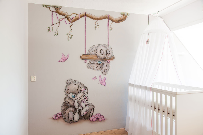 Schommel In Kinderkamer : Beertjes met schommel en tak kinderkamer muurschilderingen