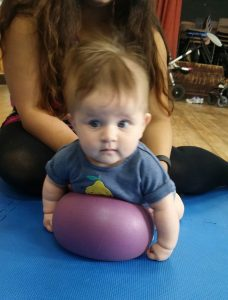 Tummy time ball play