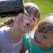 children drinking water