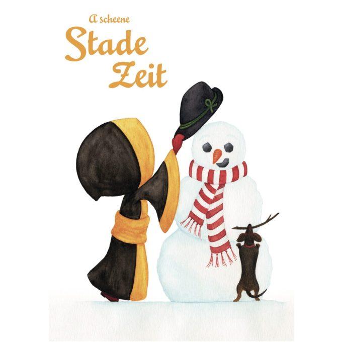Münchner Kindl Weihnachtskarte – Schneemann