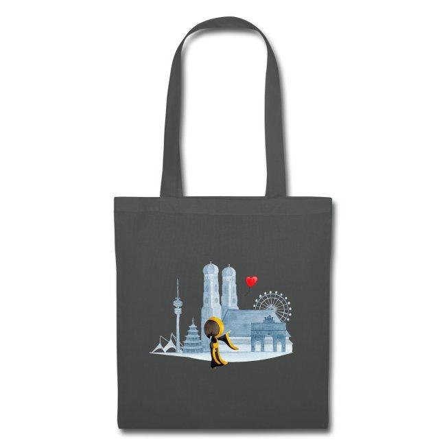 Münchner Kindl Stofftasche - Skyline - Ein Herz für München