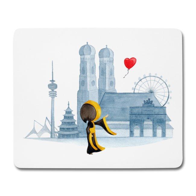 Münchner Kindl - Ein Herz für München Skyline - Mousepad