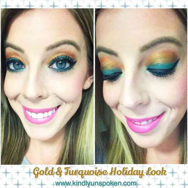 Gold & Turquoise Holiday Makeup Look