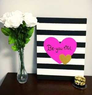 "DIY ""Be-you-tiful"" Heart Canvas"