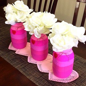 Pink Ombre Valentine's Day Mason Jar Vases (D-I-Y)