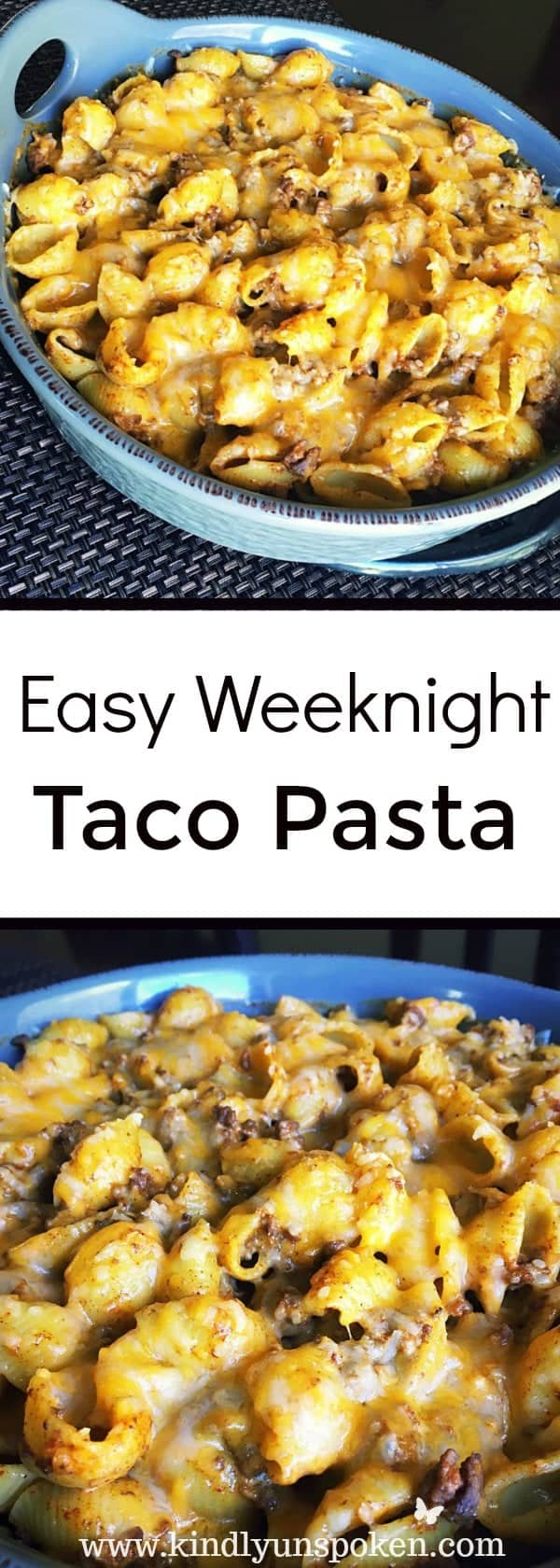 Easy Weeknight Taco Pasta -This Easy Weeknight Taco Pasta combines the wholesomeness of pasta with the delicious flavors of cheesy, beef tacos and will be enjoyed by the whole family!