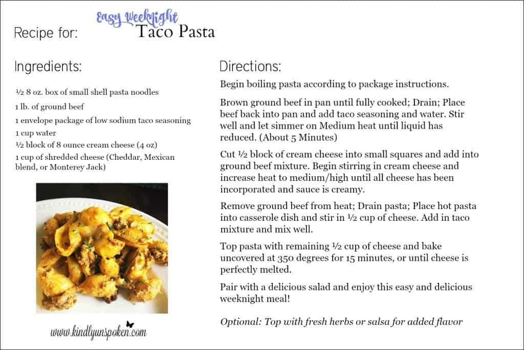 Looking for a quick pasta recipe the whole family willlove? Try my Easy and Delicious Weeknight Taco Pasta recipe that features creamy taco pasta with beef, cheese, and taco seasoning.