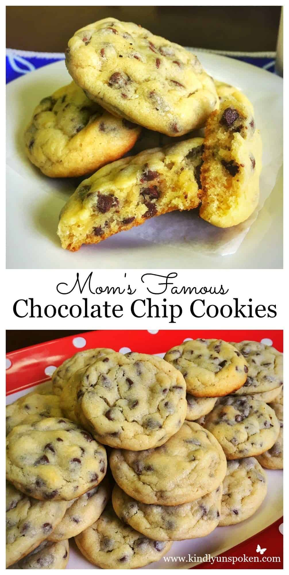 My Mom's Famous Easy Chocolate Chip Cookies recipe truly makes THE BEST chocolate chip cookies! These easy homemade chocolate chip cookies are made using self-rising flour and are soft, gooey, and absolutely delicious! Your family will request these cookies all the time. #cookies #chocolatechipcookies #dessert #recipe