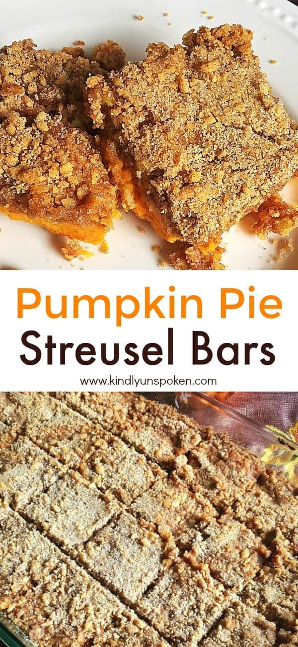 These Easy Pumpkin Pie Streusel Bars are one of my favorite desserts to make for Thanksgiving and they're always a real crowd-pleaser! These best ever pumpkin bars have all the delicious flavor of a traditional pumpkin pie, but use only a few ingredients including cake mix, pumpkin filling, and spices. Even better they're super quick and easy to make! #thanksgiving #thanksgivingdessert #pumpkinpie #pumpkinpiebars #streuselbars #easydesserts