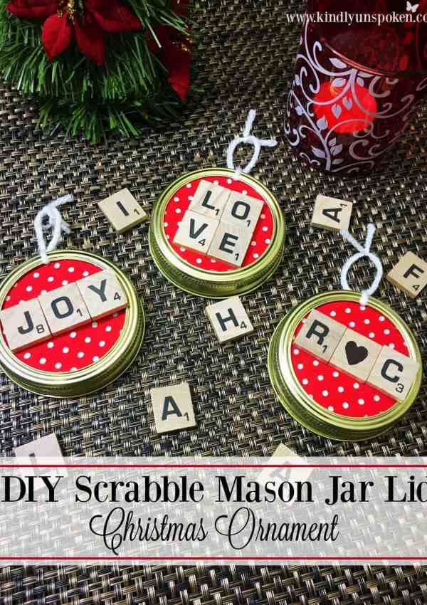 DIY Scrabble Mason Jar Lid Christmas Ornament
