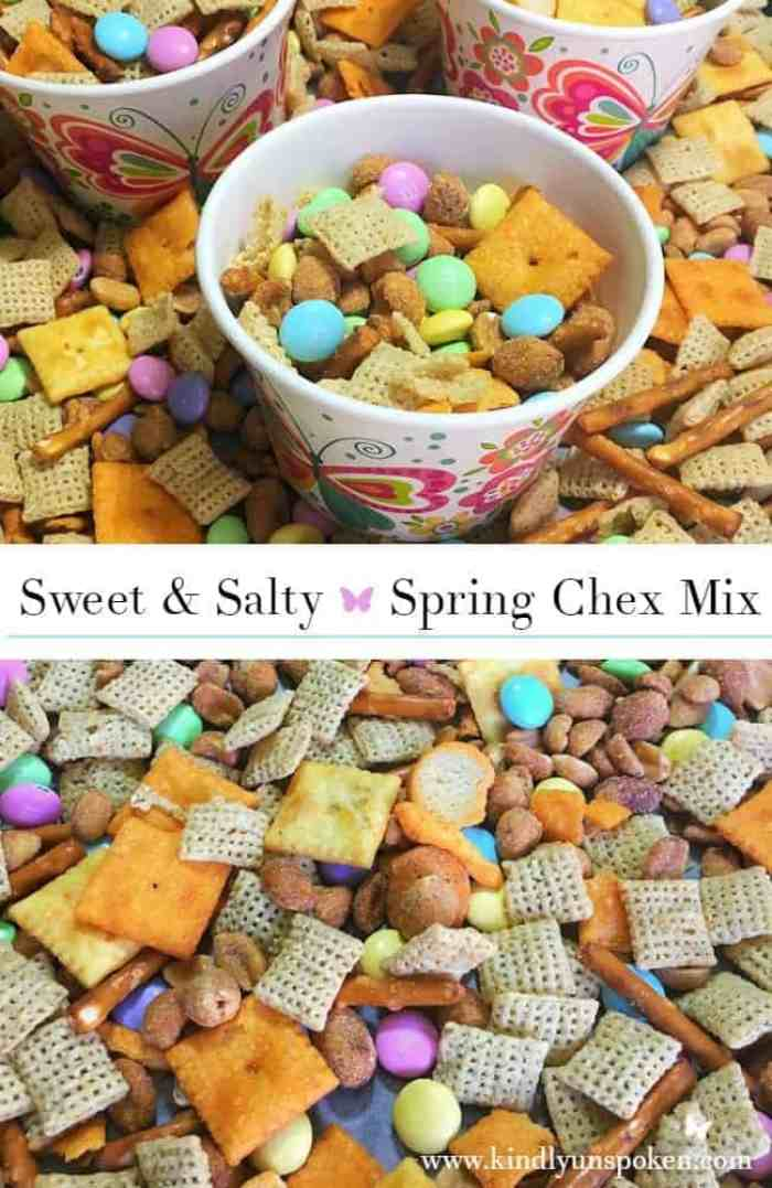 Sweet and Salty Spring Chex Mix-Whether you're craving something sweet or salty, this easy to make Sweet & Salty Spring Chex Mix features both flavors that'll leave you completely satisfied. Plus it only takes 5 minutes to whip together and is perfect for serving to family and friends!
