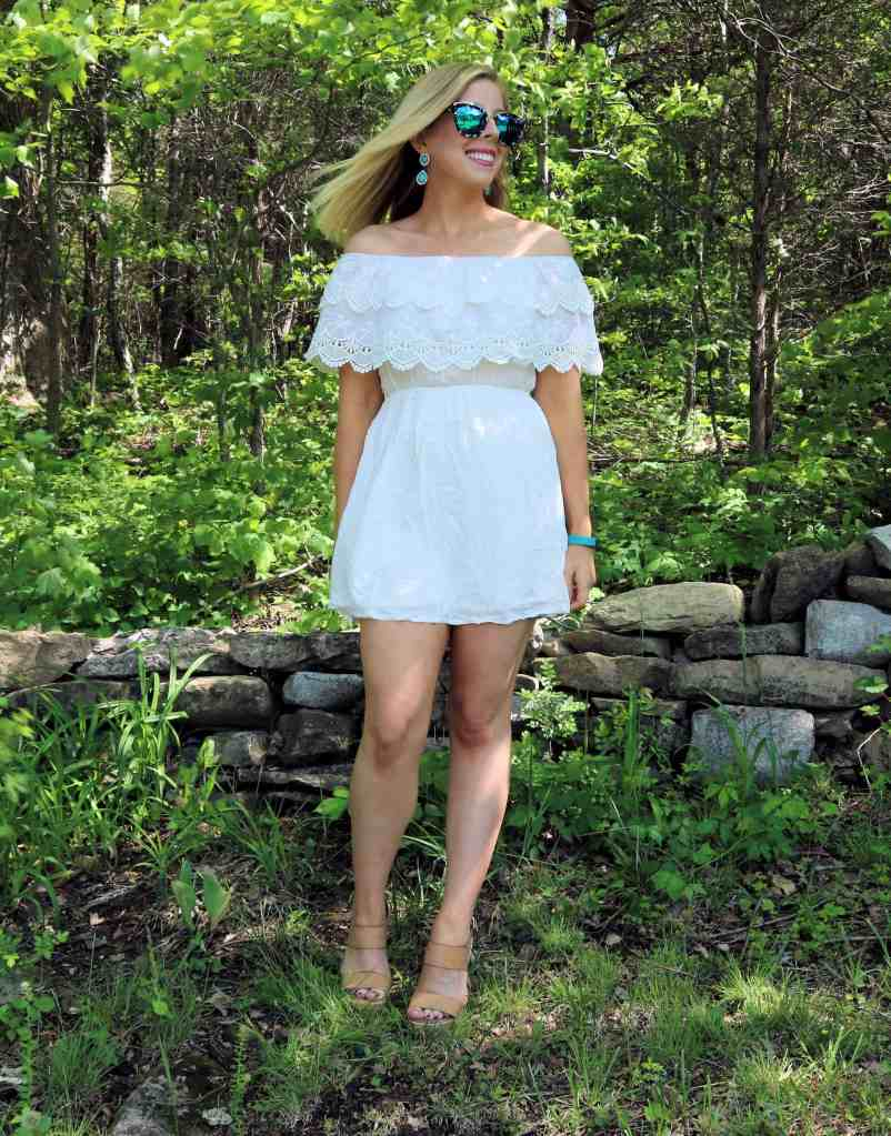 White Scallop Lace Off-the-Shoulder Dress