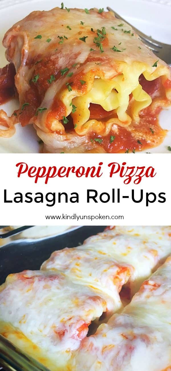 These Pepperoni Pizza Lasagna Roll Ups are a delicious and easy weeknight meal favorite and perfect for family dinner!