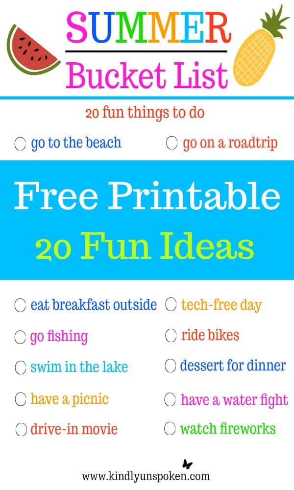 Looking for the ultimate fun list of ideas on what to do this summer? Today I'm sharing the best summer bucket list with 20 fun, must-do activities for families and kids. Even better this free, printable list is full of budget-friendly things to do this summer, so you can have fun without breaking the bank!