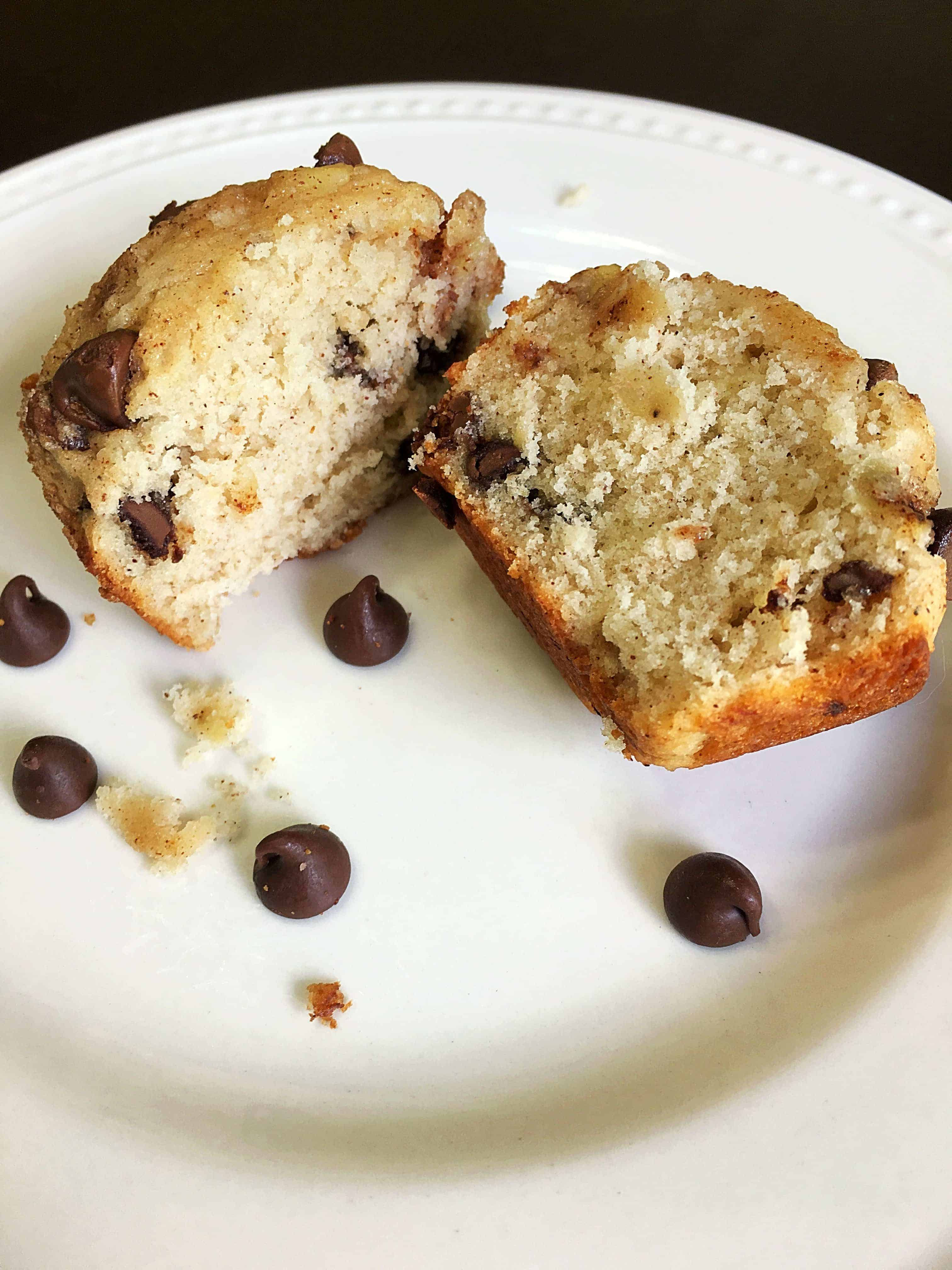 These Cinnamon Sugar Chocolate Chip Banana Muffins are easy, delicious, moist, and have the perfect amount of sweetness with yummy chocolate chips and cinnamon sugar. Even better they only take 12-15 minutes to bake! #muffins #bananamuffins #breakfast #dessert #easymuffins